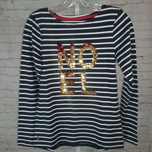 """Joules Striped Sequined """"Noel"""" Shirt NWT Sz. 2"""